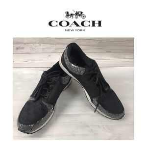 Coach Black Sneakers W/Sequins.  Sz 10M